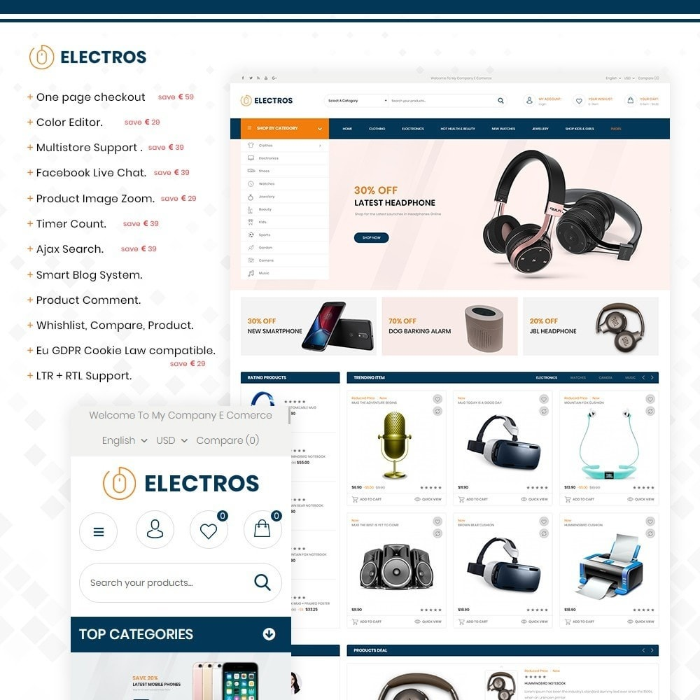 theme - Electronique & High Tech - Electros – Multipurpose Electronic Store - 1