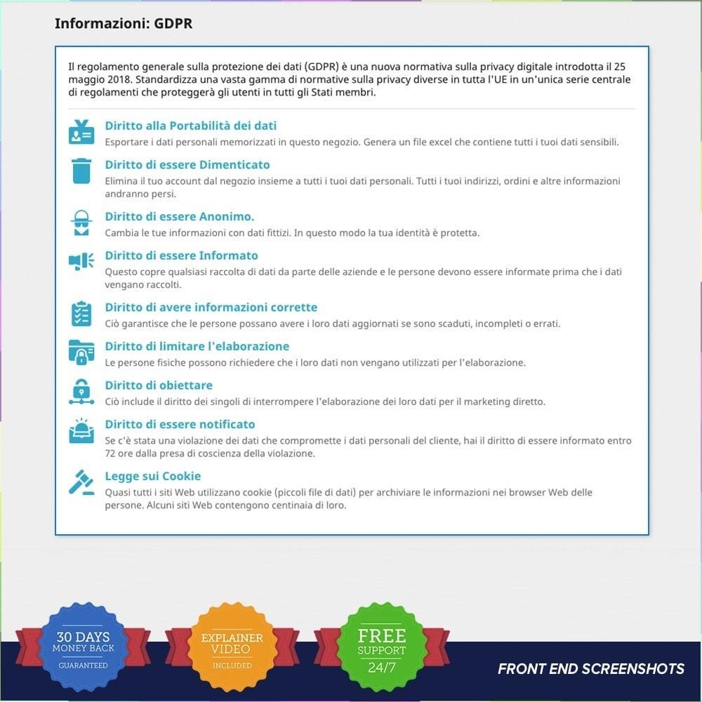 module - Legale (Legge Europea) - GDPR UE–Regolamento Generale sulla Protezione dei Dati - 20