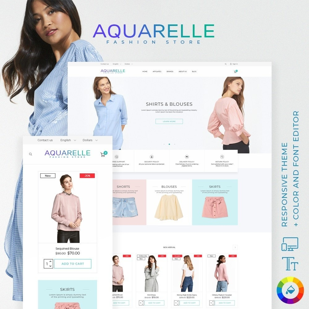 theme - Fashion & Shoes - Aquarelle Fashion Store - 1