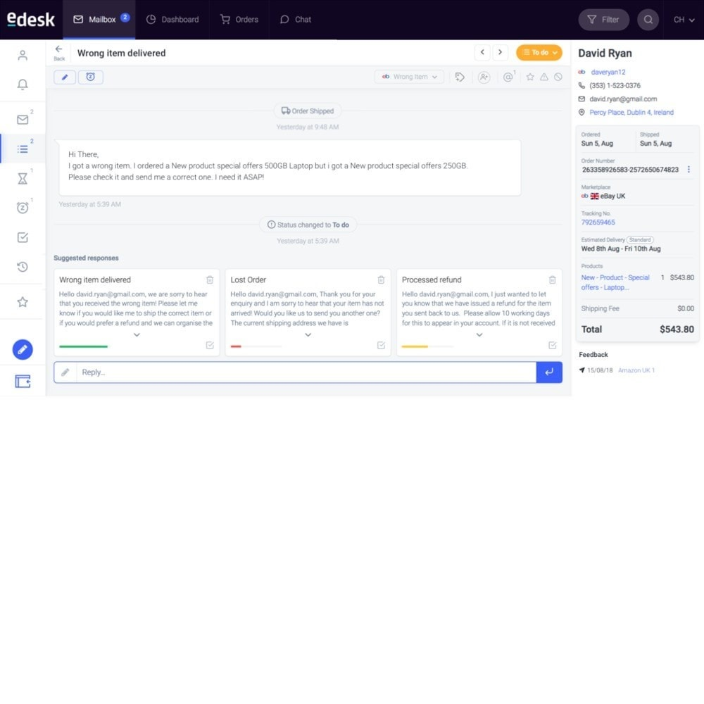 module - Service Client - eDesk by xSellco - 2