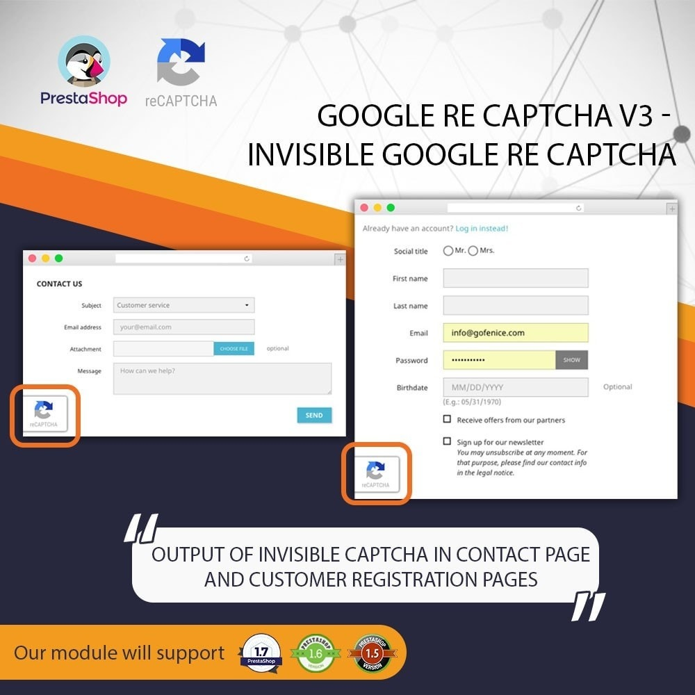 module - Sicherheit & Brechtigungen - Invisible Google re CAPTCHA v3 + Block Spam Customer - 4