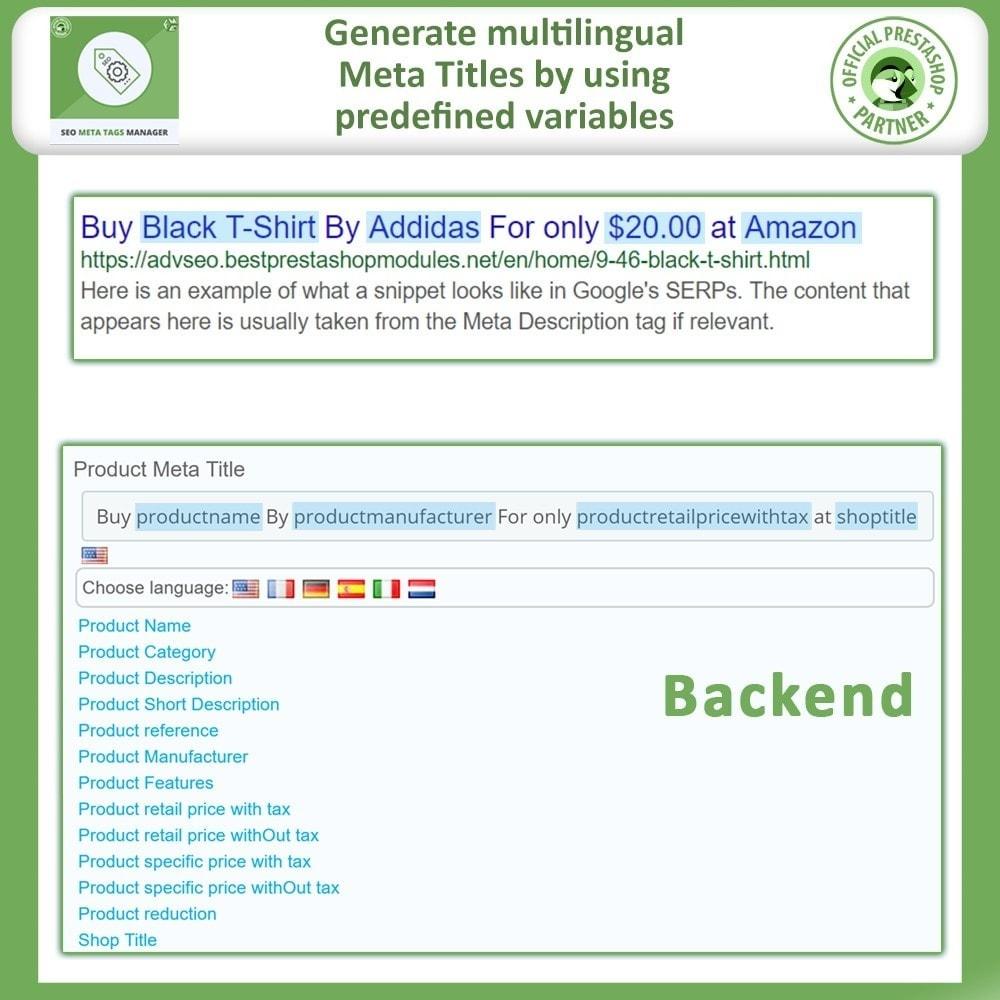 module - SEO (Referenciamento natural) - Meta Tag Manager - AutoGenerate SEO Title & Description - 4