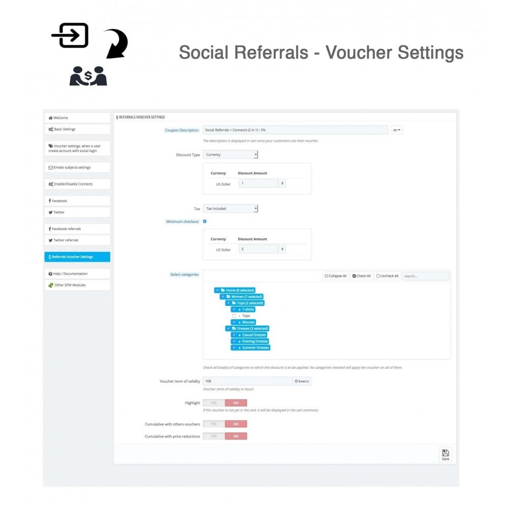 module - Descuentos en redes sociales - Social Referrals + Connects (2 in 1) - 35