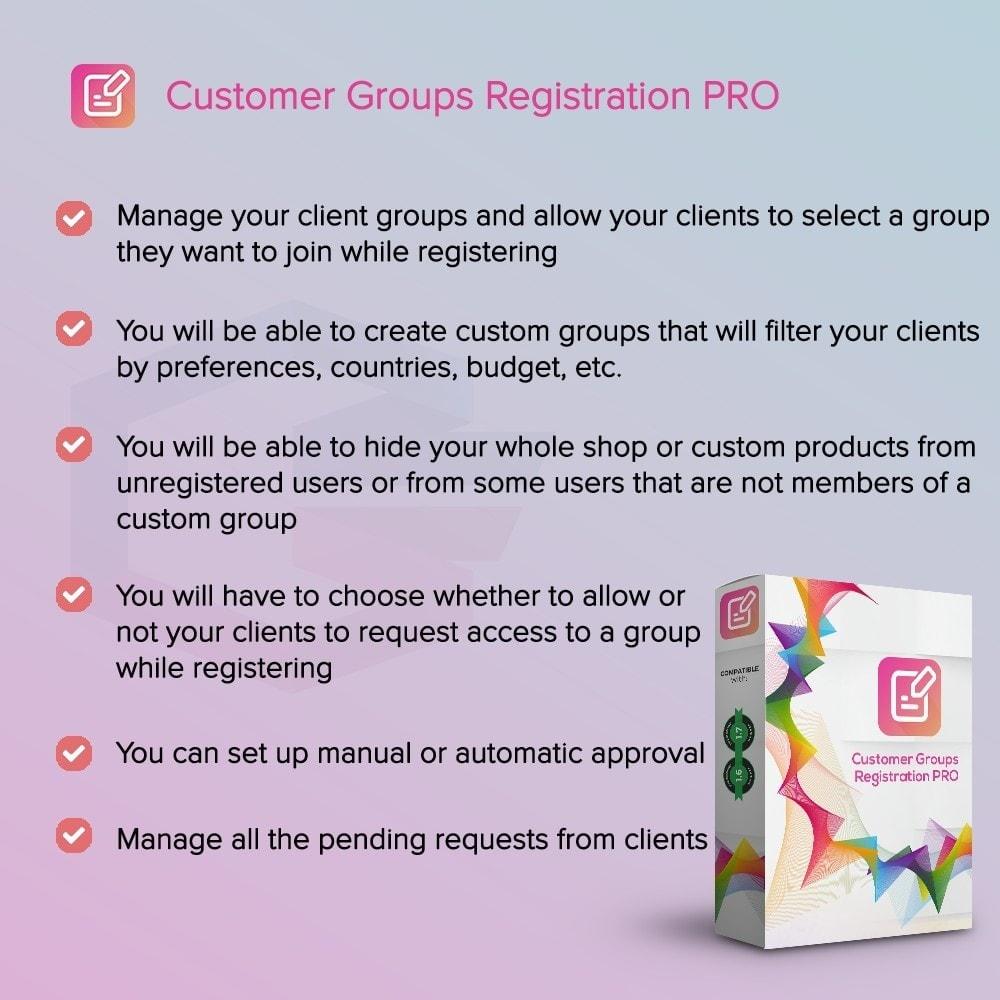 module - Inscripción y Proceso del pedido - Registro de Grupos de Clientes PRO - 1