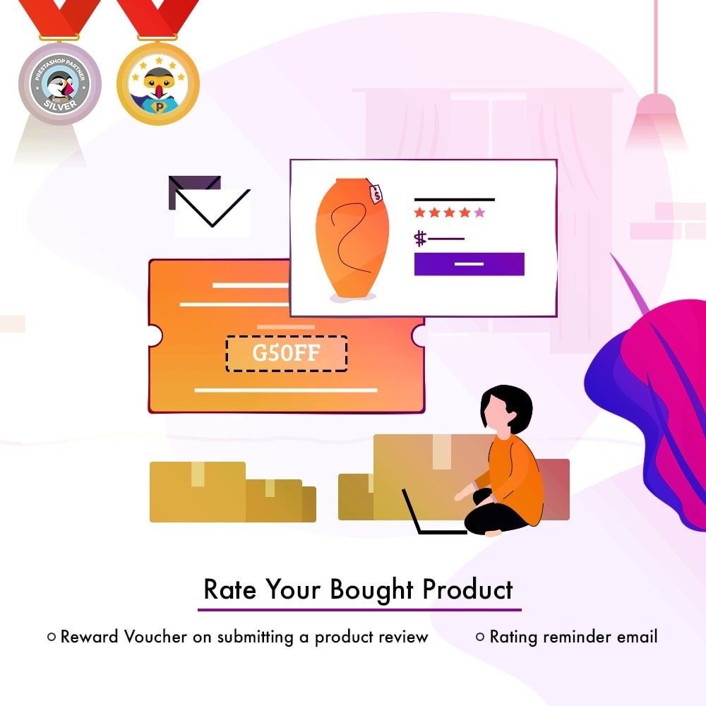 module - Customer Reviews - Webkul Rate Your Bought Product - 2