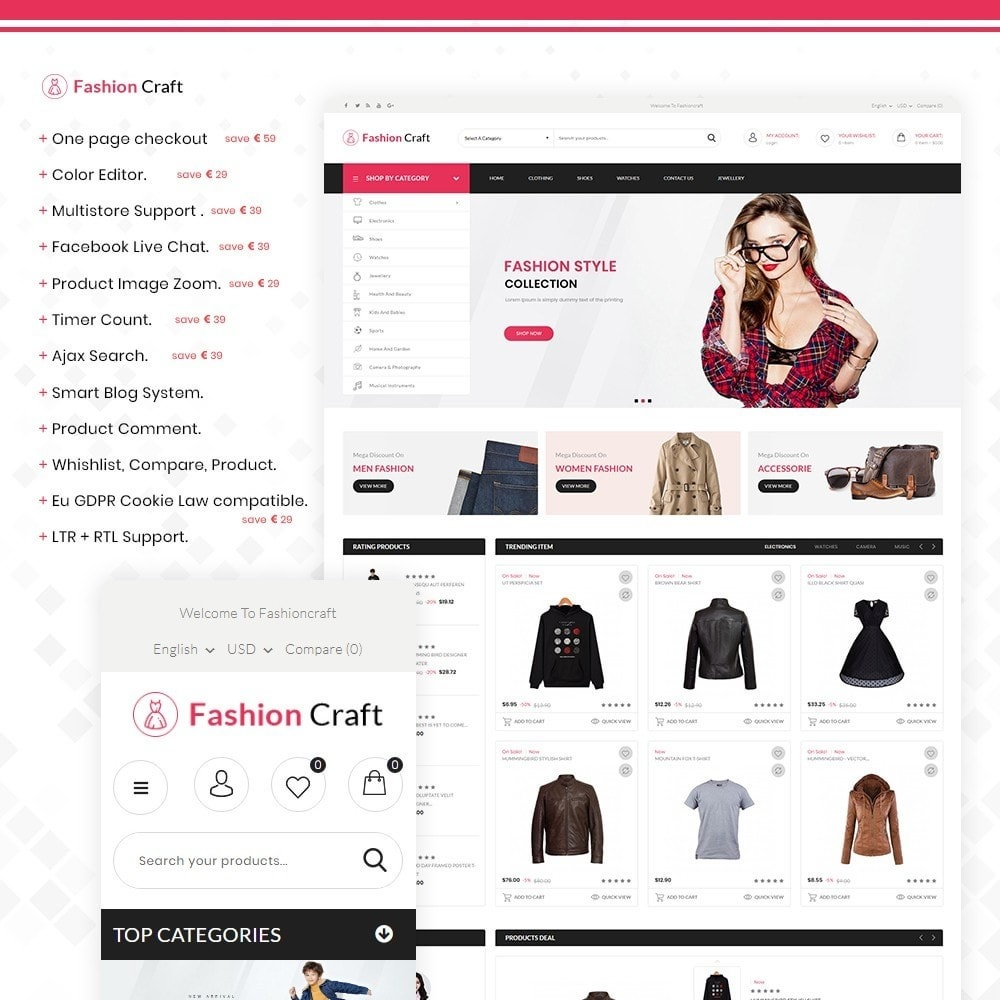 theme - Fashion & Shoes - Fashion Craft - Multipurpose Mega Fashion Store - 1