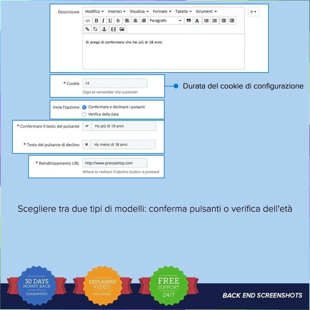 module - Legale (Legge Europea) - Legge sui contenuti per adulti – Controllo dell'età PRO - 5