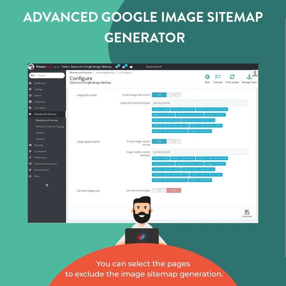 module - SEO (Referenciamento natural) - Advanced Google Image Sitemap Generator - 4