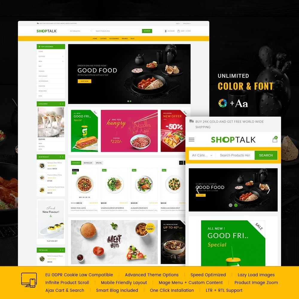 theme - Food & Restaurant - ShopTalk Food Store - 1