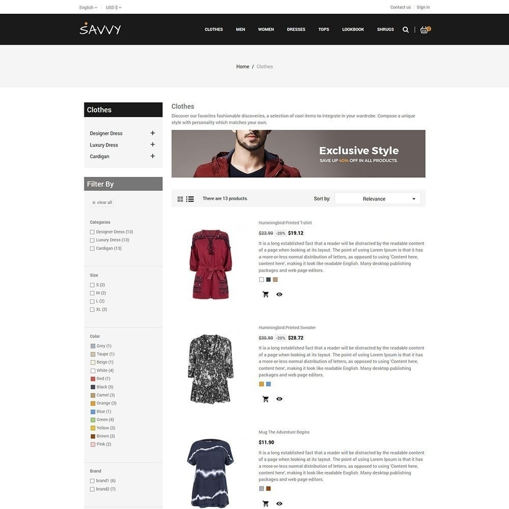 theme - Mode & Chaussures - Savvy Designer - Magasin de mode - 5