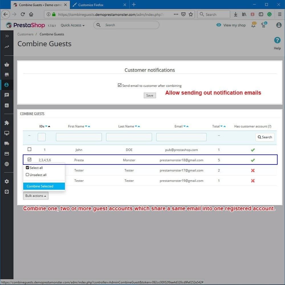 module - Administração dos Clientes - Combine guests - 3