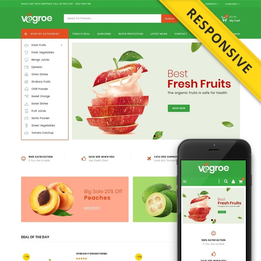 theme - Food & Restaurant - Vegroe - Grocery Store - 1