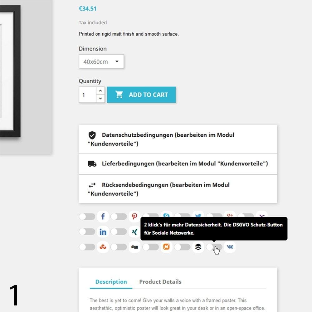 module - Rechtssicherheit - DSGVO Social Media Share Buttons Pro 2019 - 1