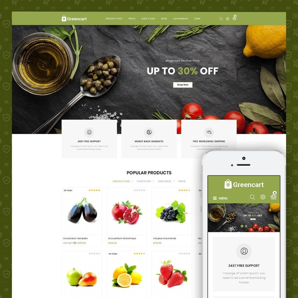 theme - Home & Garden - Green Cart - Organic Store - 1