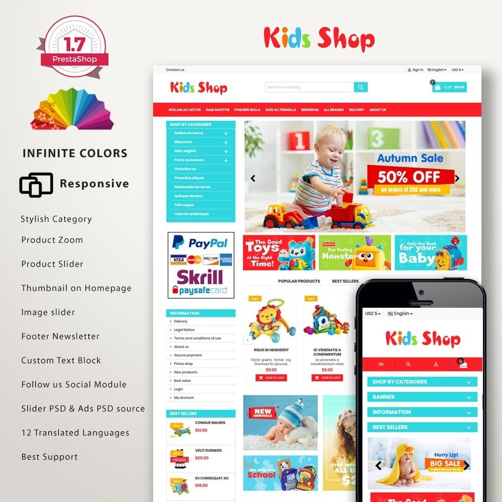 theme - Kinderen & Speelgoed - New Kids shop, Toy, play, cloths Multicolor store - 1