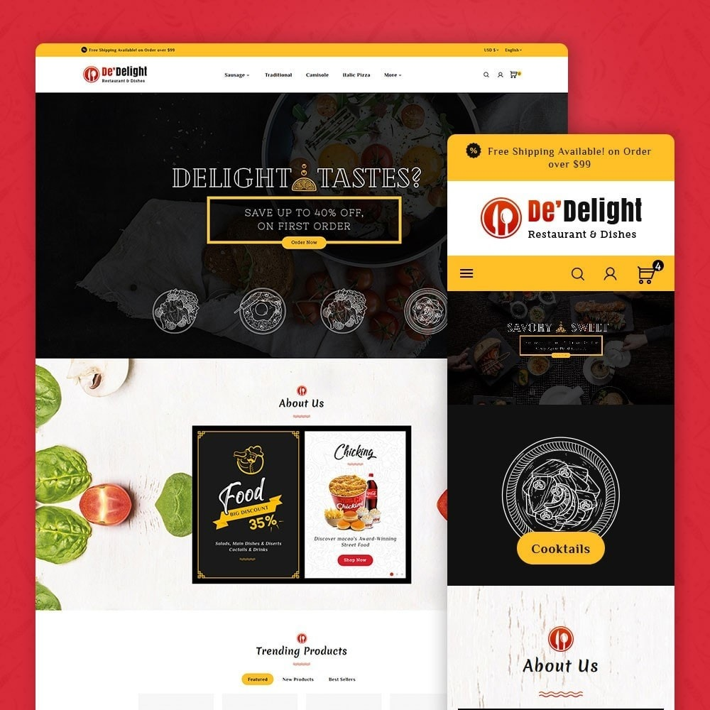 theme - Food & Restaurant - De Delight - Restaurant & Dishes - 1