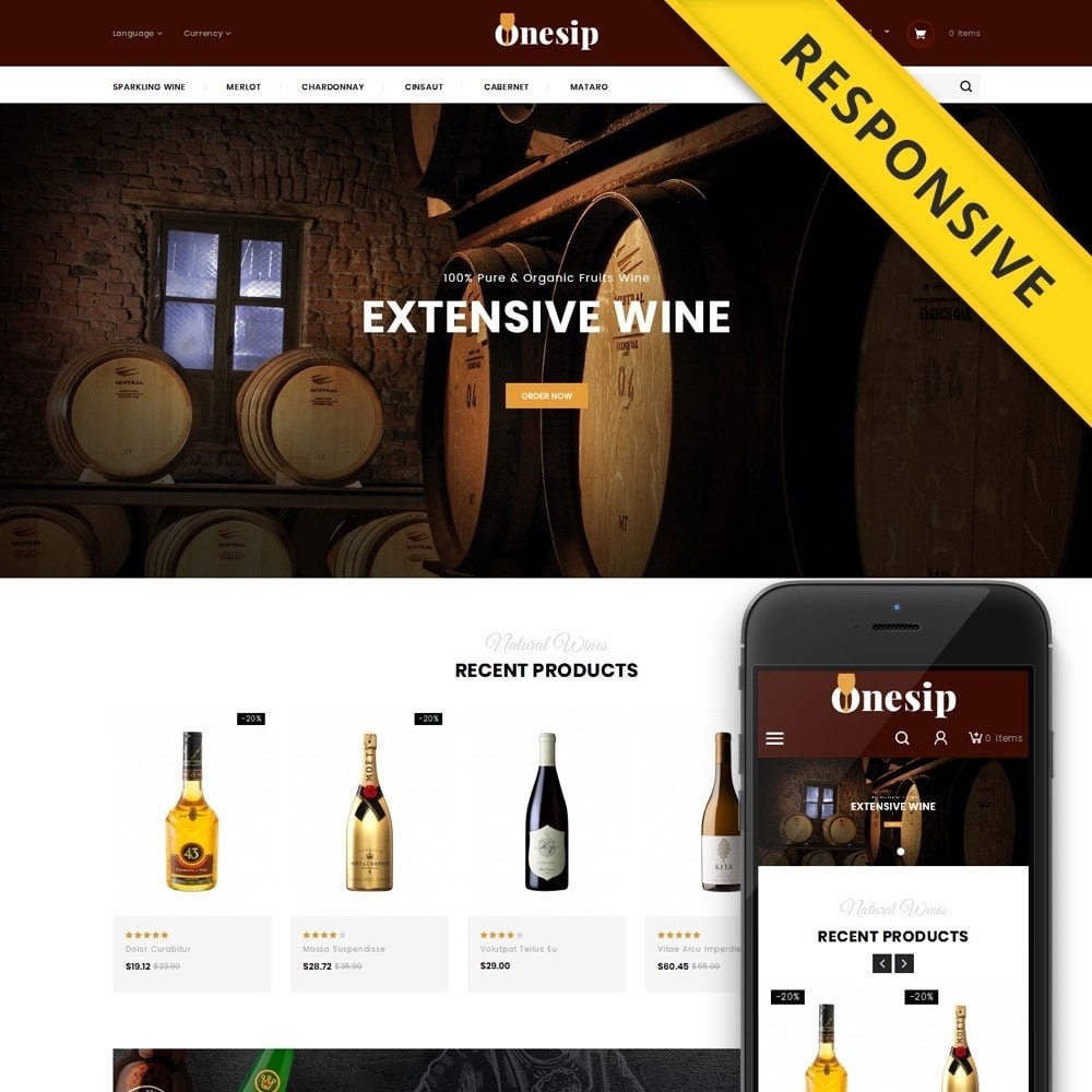 theme - Bebidas y Tabaco - Onesip  - Wine & Drink Shop - 1