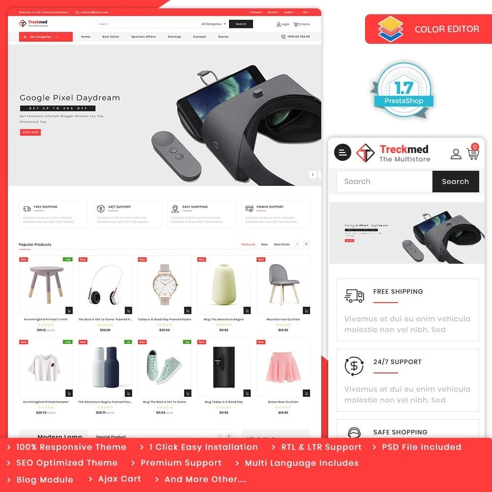 theme - Elektronik & High Tech - Treckmed - The MultiStore Theme - 1