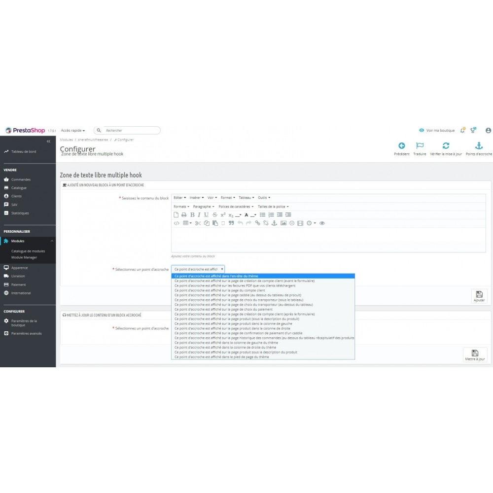 module - Outils d'administration - Bloc de contenu libre (CMS) multi-points d'accroche - 2
