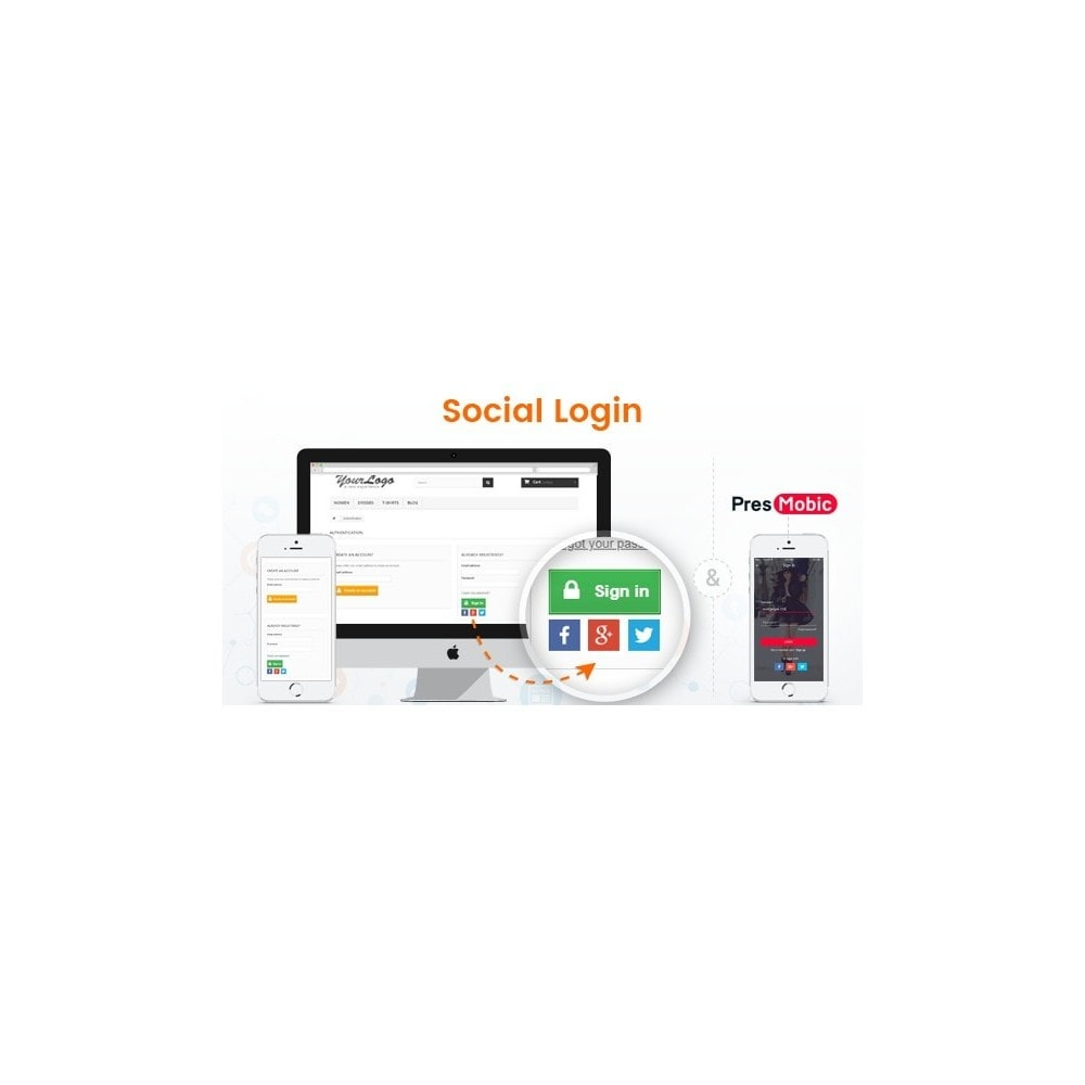 module - Login/Connessione - Social Login with report Customer, Orders Data - 1