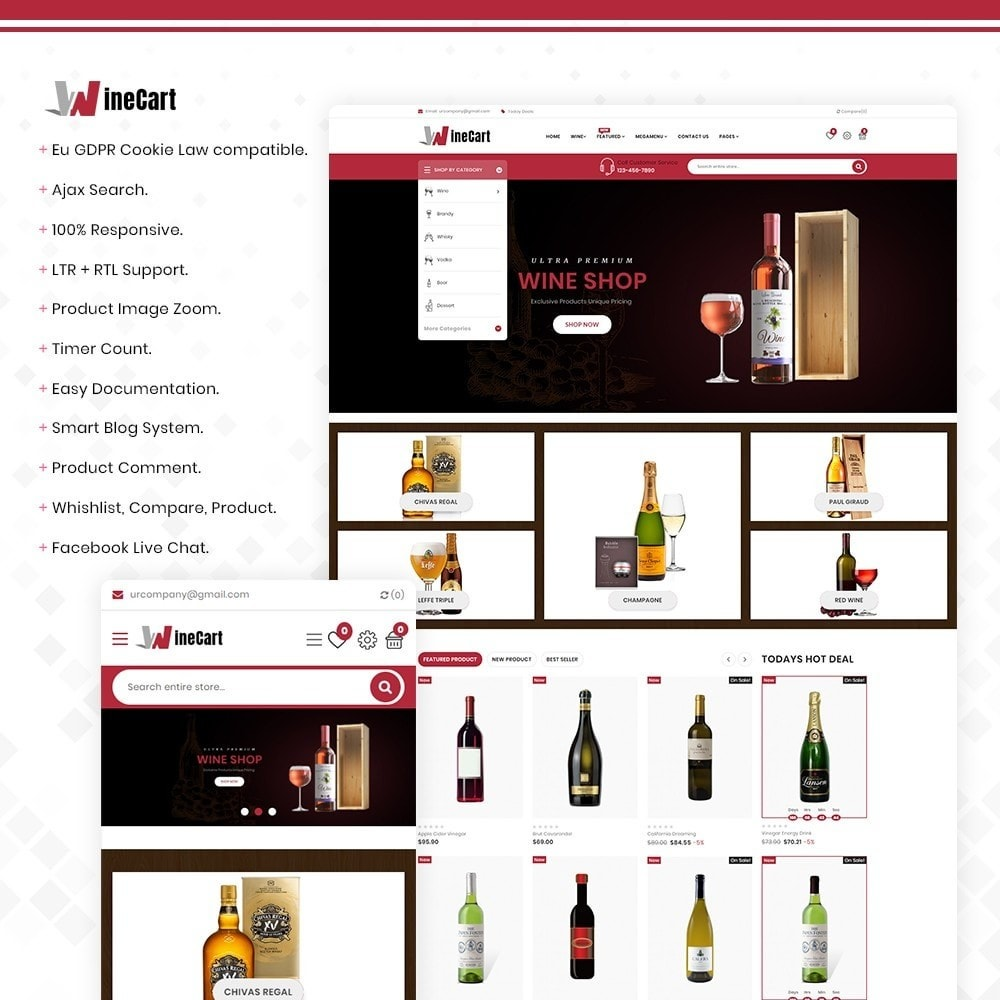 theme - Getränke & Tabak - Wine cart– Multipurpose Mega Wine Store - 1