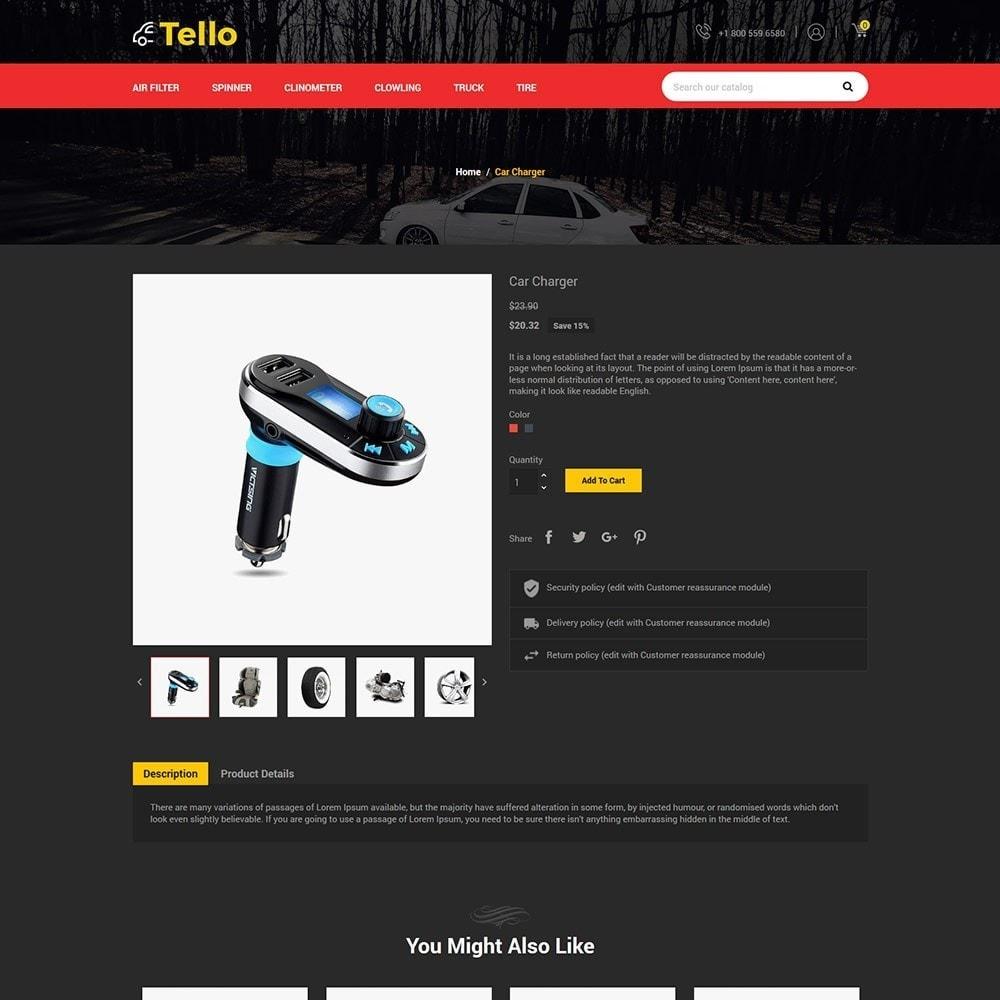 theme - Automotive & Cars - Tello Auto - Car Black Dark - 4