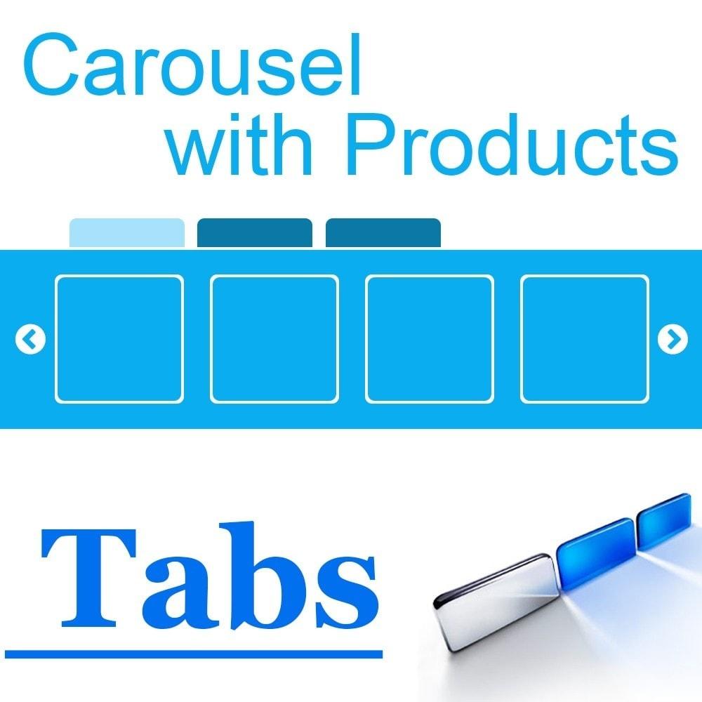 module - управления товарами на стартовой странице - Карусель продуктов со вкладками категорий. - 1