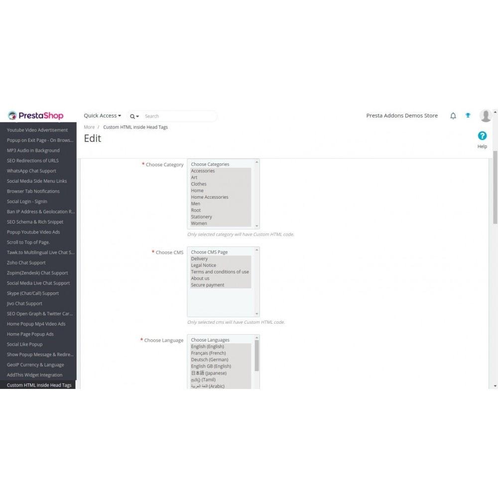 module - SEO (référencement naturel) - HTML personnalisé sur les pages sélectionnées - 3