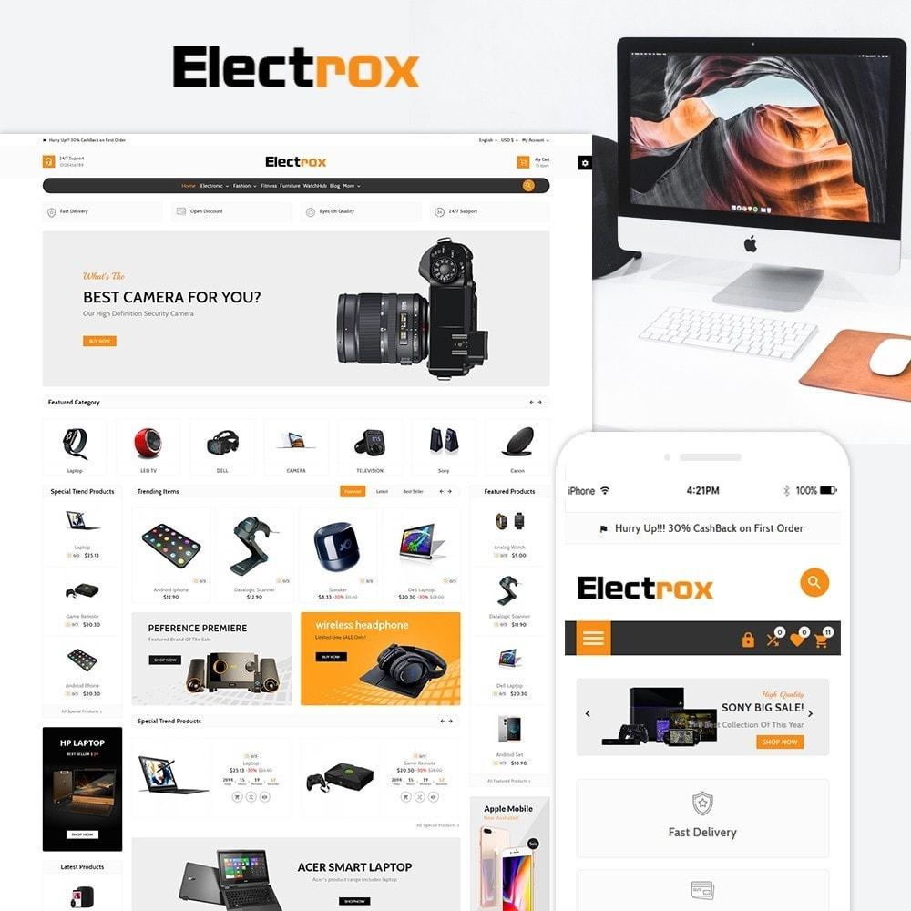 theme - Elektronika & High Tech - Electrox Electronic Multi Store Responsive - 1