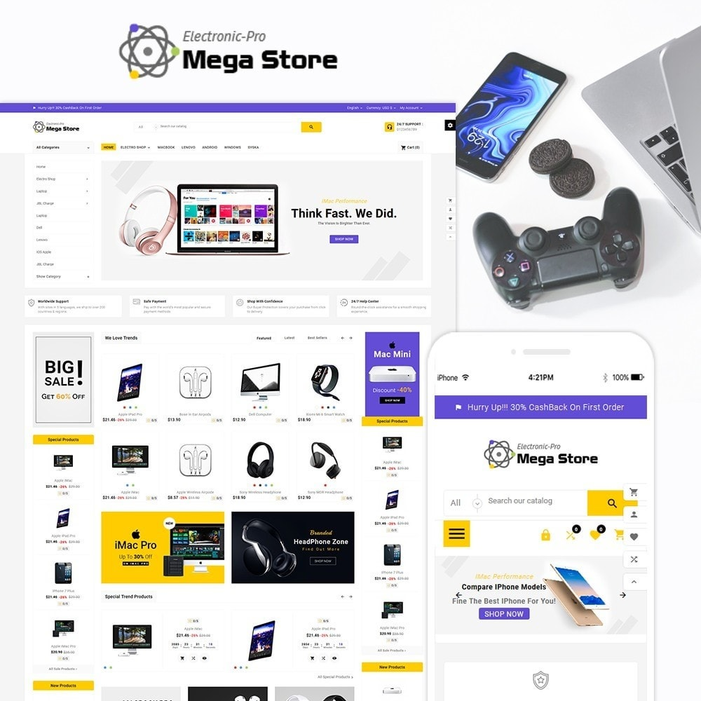 theme - Electronics & Computers - Mega Store Electronic Multistore Responsive - 1