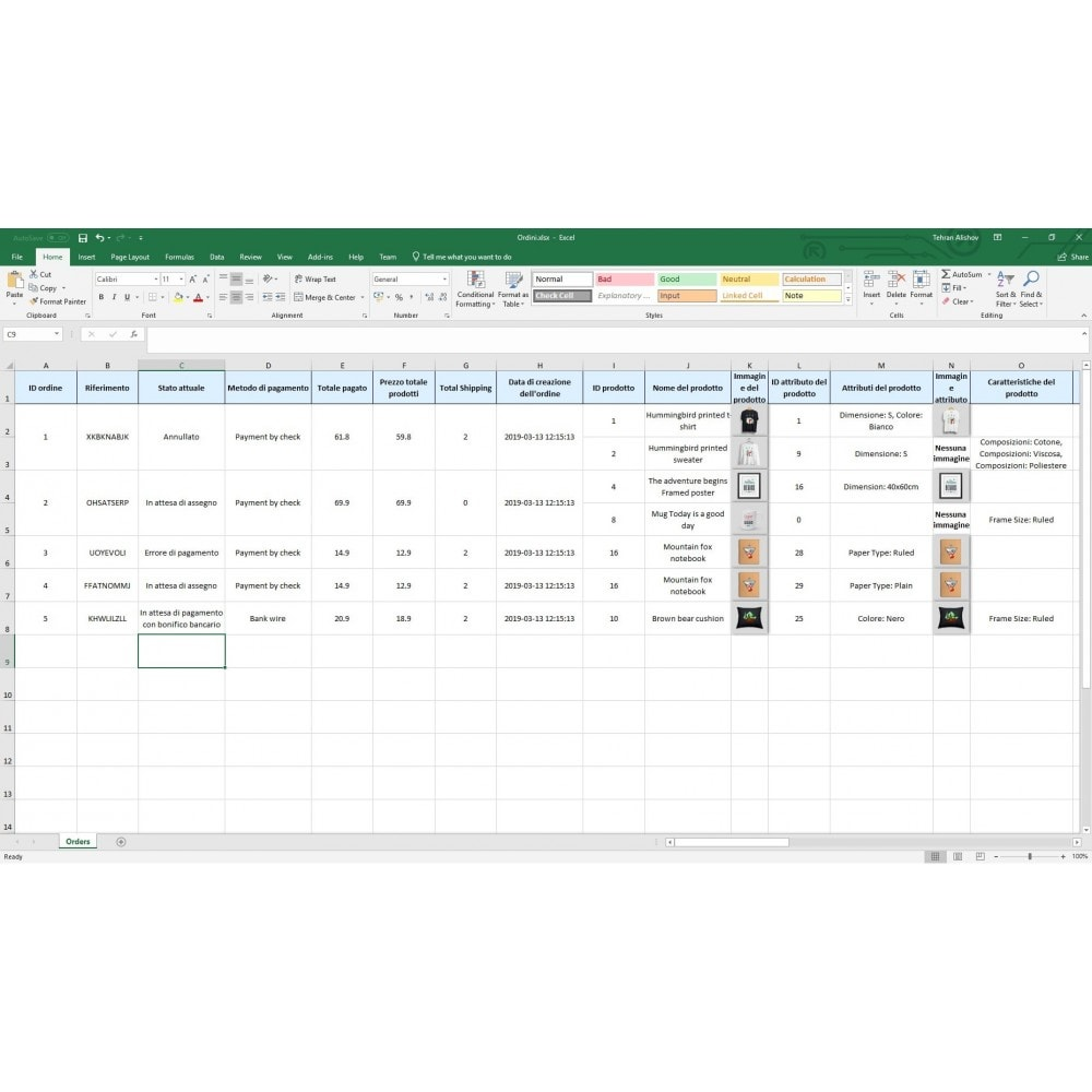 module - Data Import & Export - Esportazione di Ordini Pro (Excel, CSV, PDF) - 9