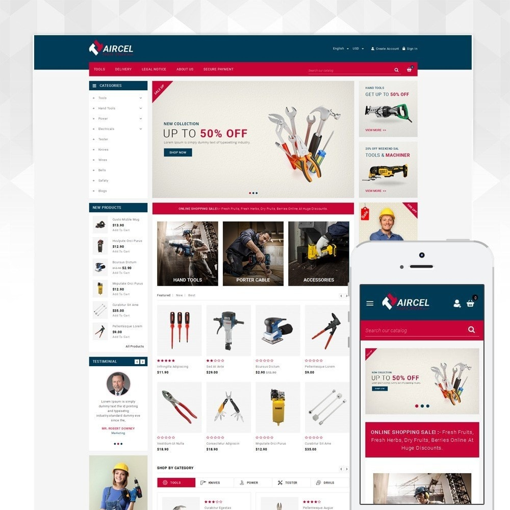 theme - Sports, Activities & Travel - Aircel - Tools Shop - 1