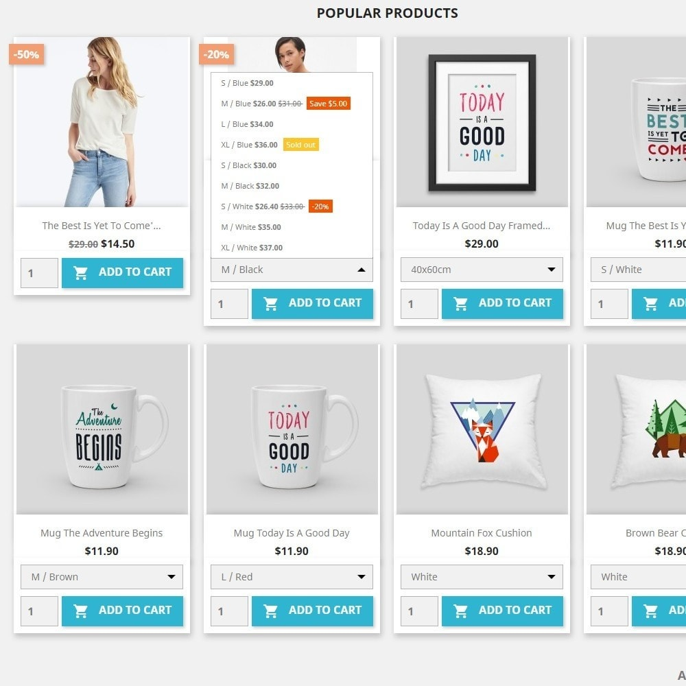 module - Combinaciones y Personalización de productos - Attribute combinations in products list &  Add to cart - 2