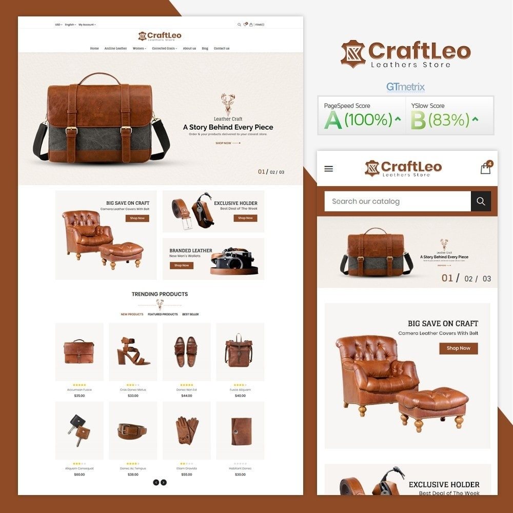 theme - Moda & Obuwie - CraftLeo - Leather Fashions Store - 1
