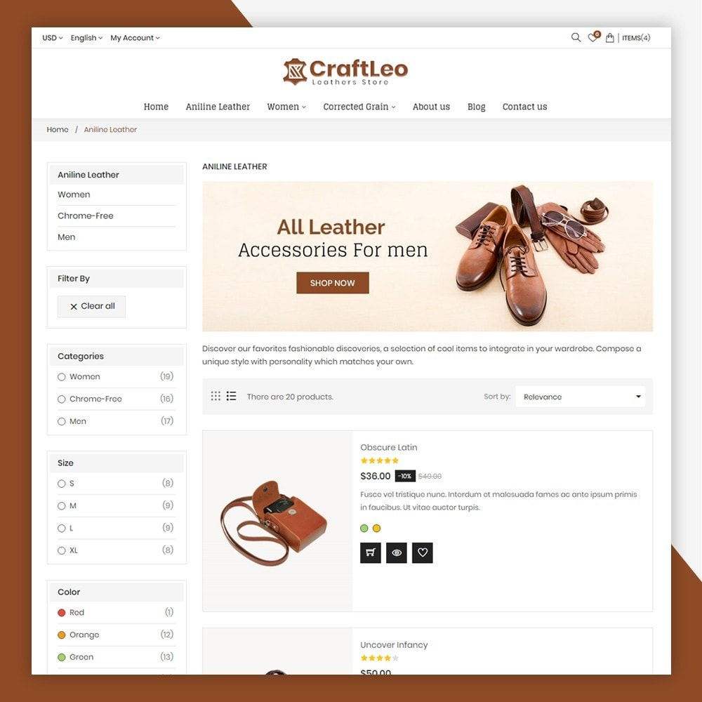 theme - Mode & Chaussures - CraftLeo - Leather Fashions Store - 7
