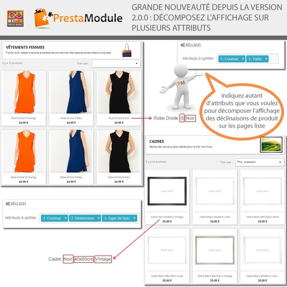 module - Déclinaisons & Personnalisation de produits - Products by Attributes: Afficher déclinaisons-attributs - 2