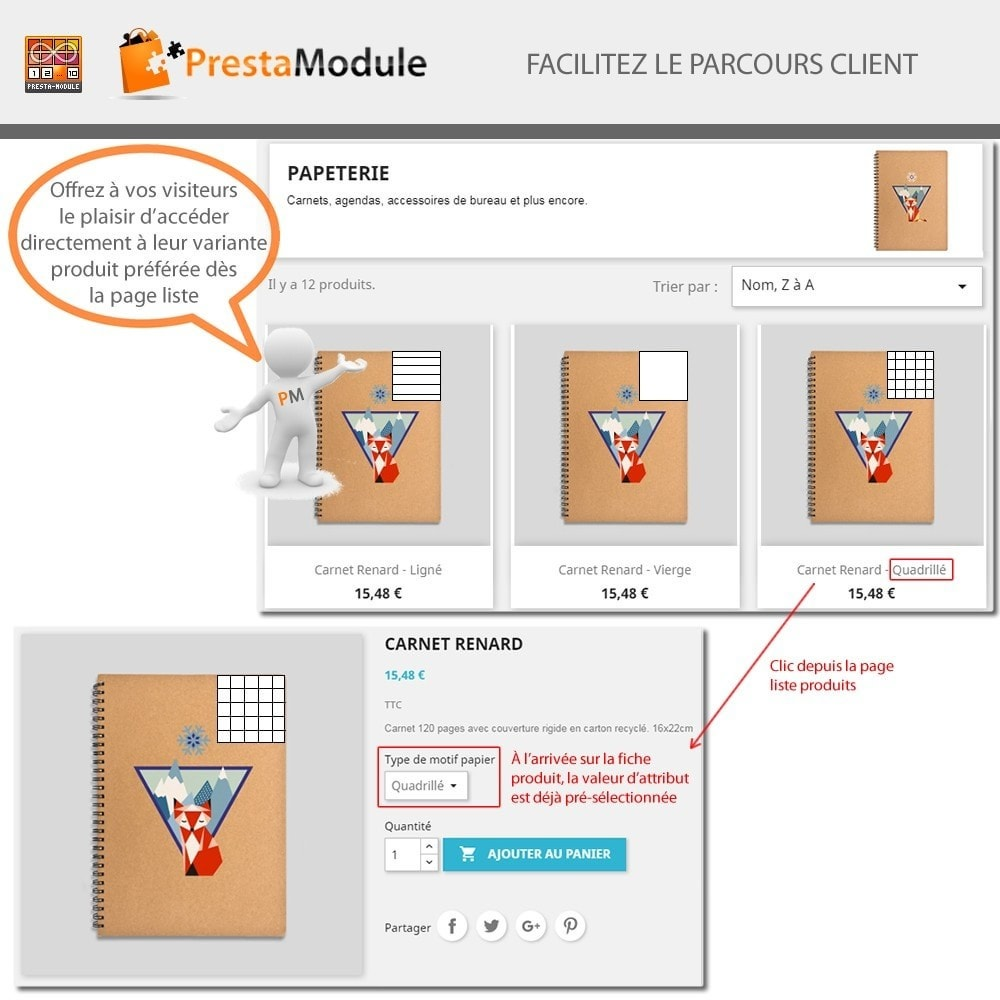 module - Déclinaisons & Personnalisation de produits - Products by attributes: Produits affichés par attributs - 3