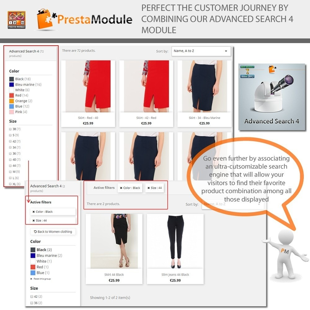 module - Versies & Personalisering van producten - Products by Attributes: Producten weergeven per kenmerk - 8