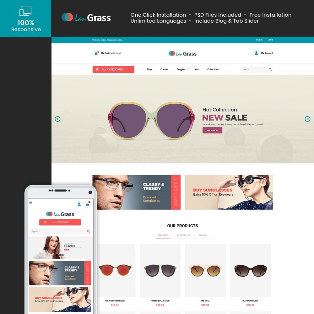 theme - Fashion & Shoes - Eyeware  Sunglass - Lens Store - 1