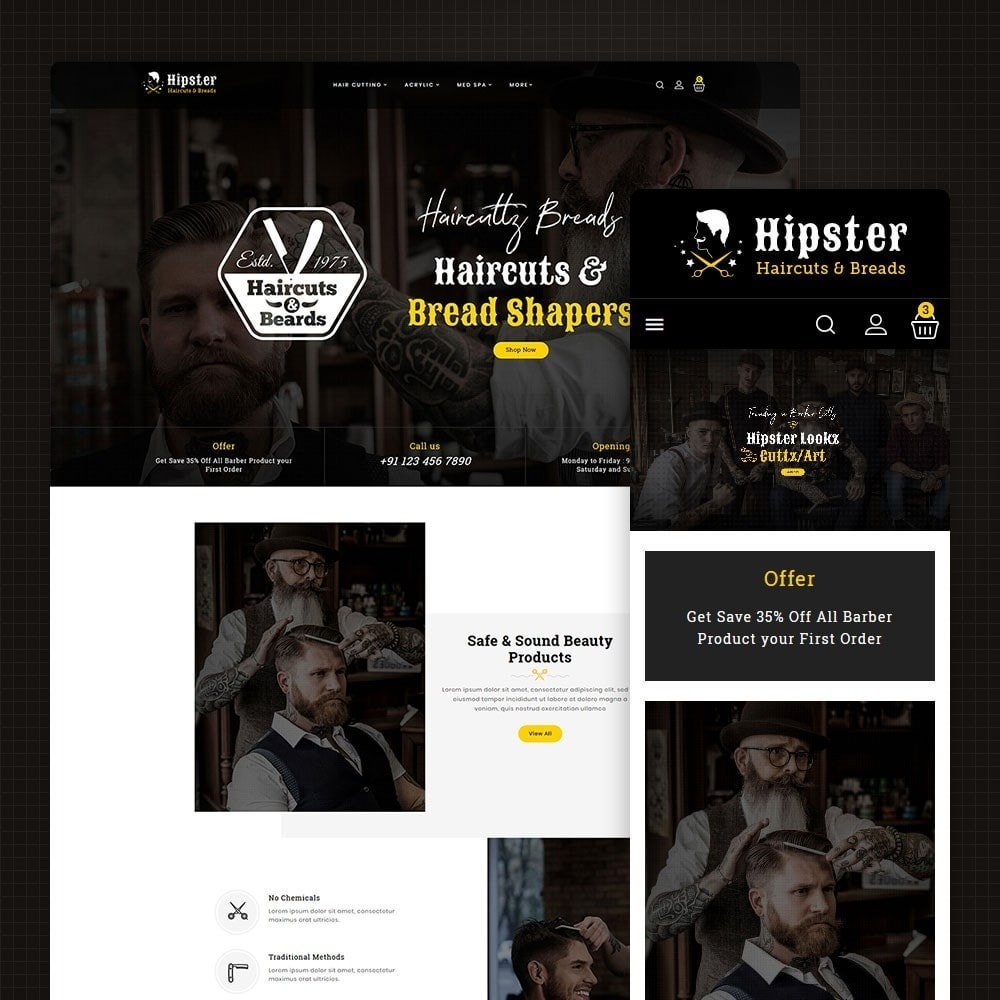 theme - Health & Beauty - Hipster - Haircuts & Beard - 1