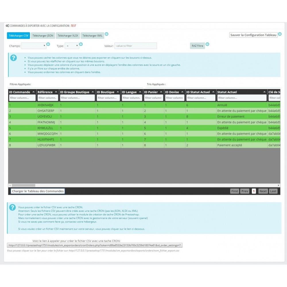 module - Import & Export de données - Export commandes aux formats CSV, XLSX, JSON ou XML - 2