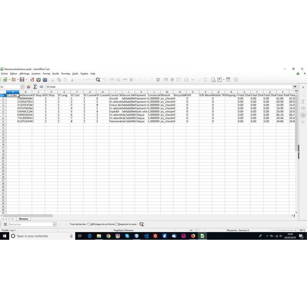 module - Import & Export de données - Export commandes aux formats CSV, XLSX, JSON ou XML - 5