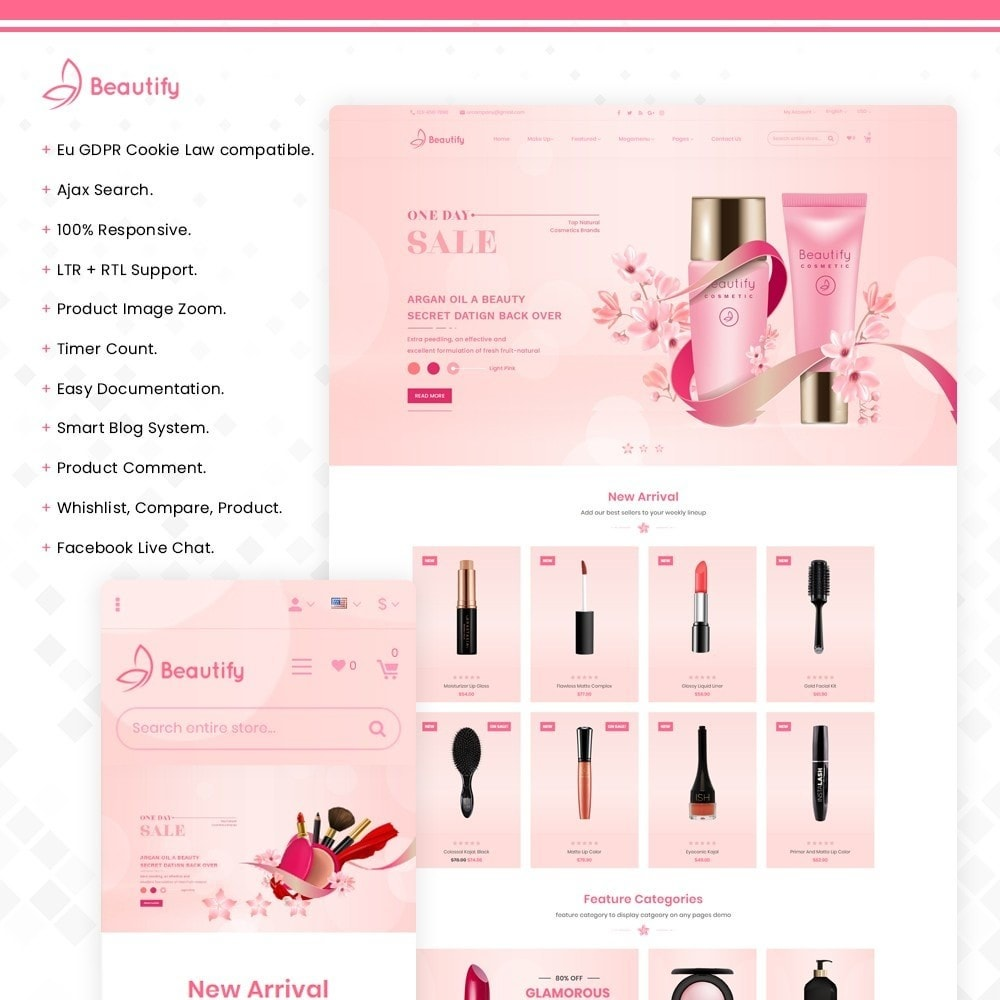 theme - Salud y Belleza - Beautify – Beauty & Cosmetic & health Store - 1