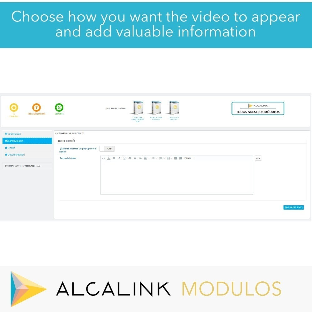 module - Video's & Muziek - Video in Product Sheet - Youtube, Dailymotion... - 2