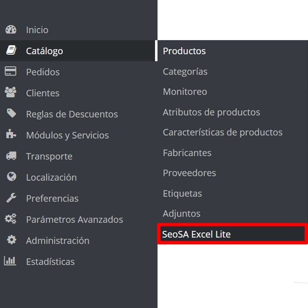module - Importación y Exportación de datos - Importar producto de la versión Microsoft Excel Lite - 2