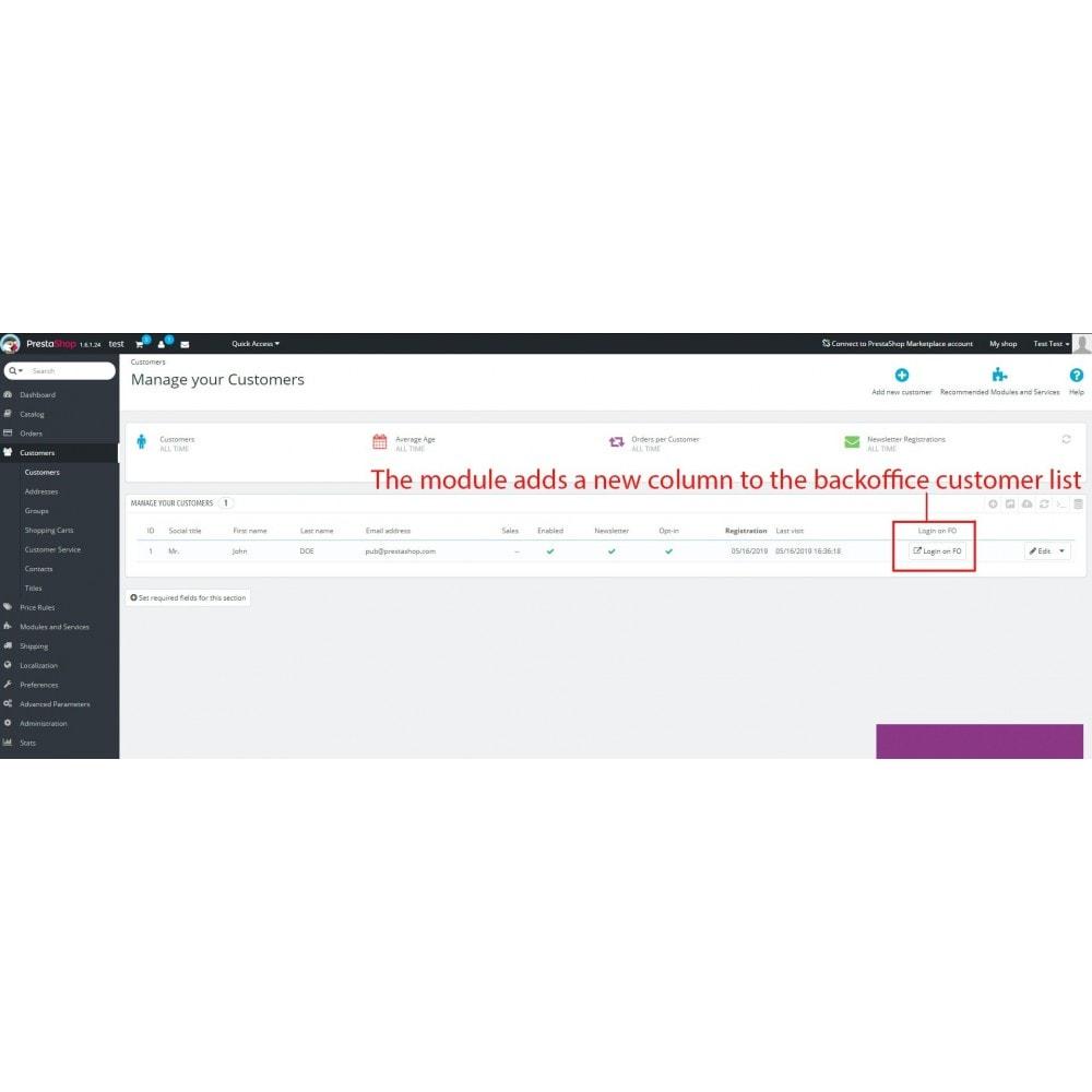 module - Kundenservice - Back Office customer login - 2