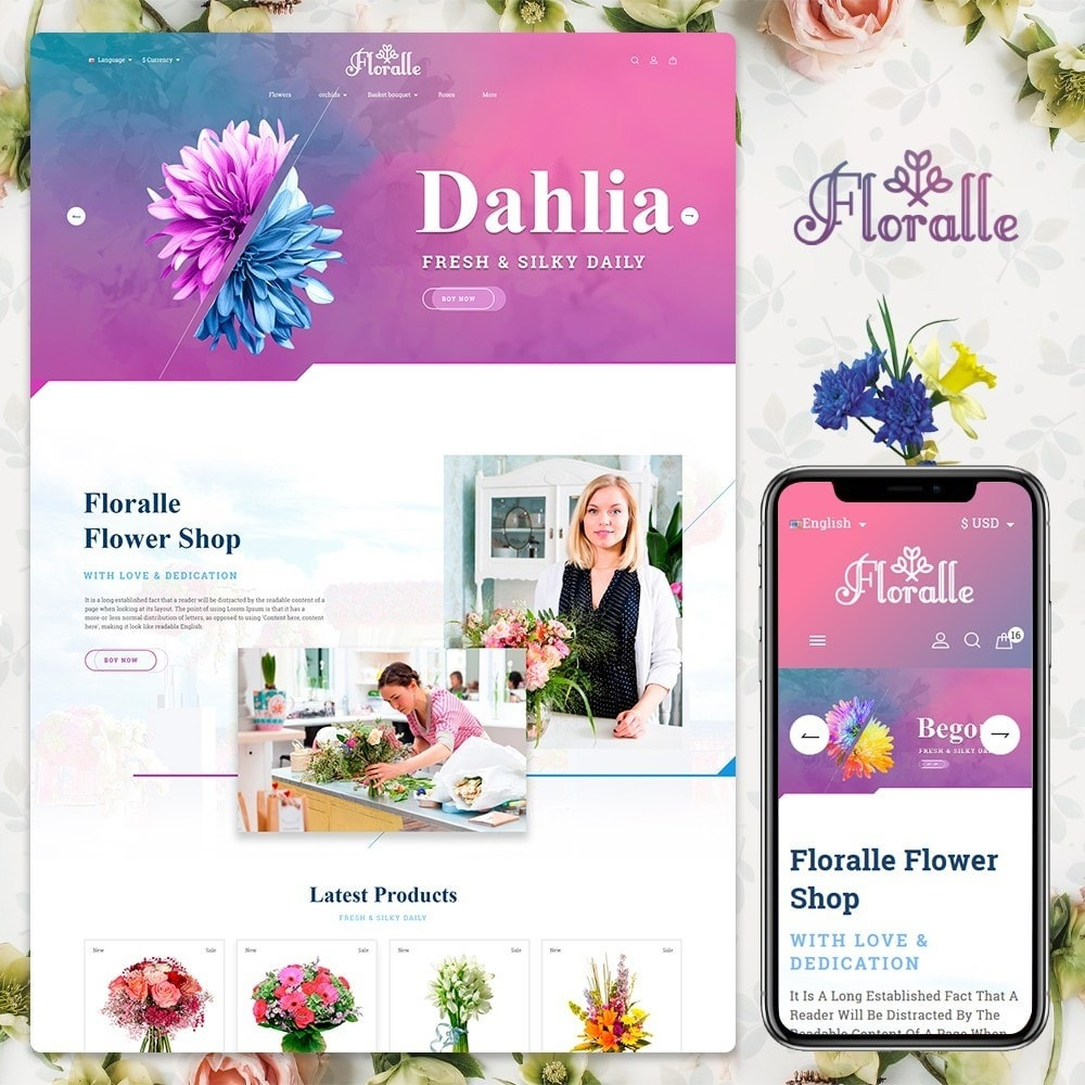 theme - Gifts, Flowers & Celebrations - Flower Store  - Floralle Responsive Template - 1