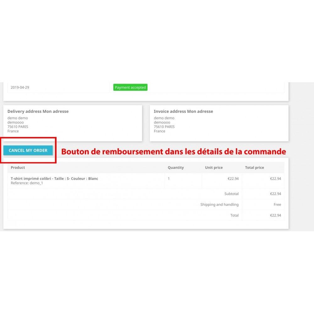 module - Gestion des Commandes - PayPal / Stripe - Remboursement commande par le client - 1