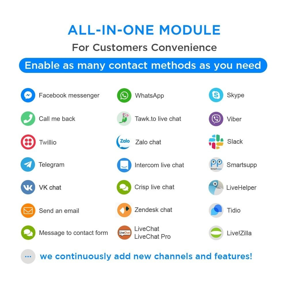 module - Supporto & Chat online - All-in-One - Live Chat, WhatsApp, Call Back, Messenger - 1