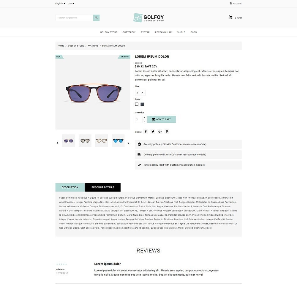theme - Santé & Beauté - Golfoy EyeGlasses & Goggles Shop - 5